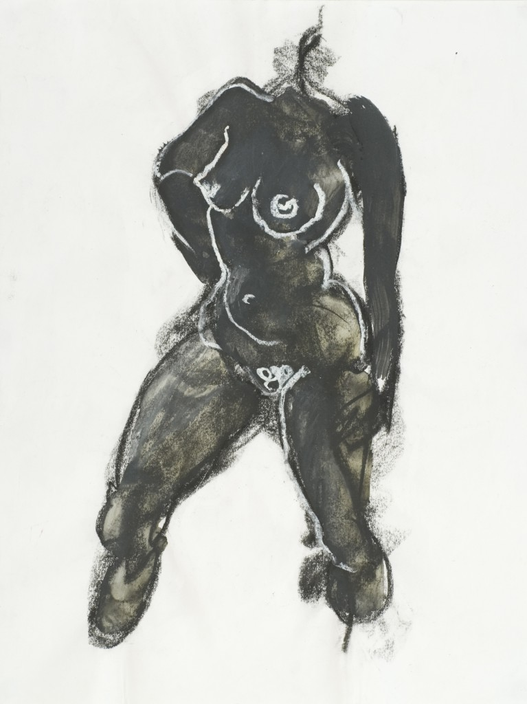 Figure Drawing_ink, Black and White Chalk