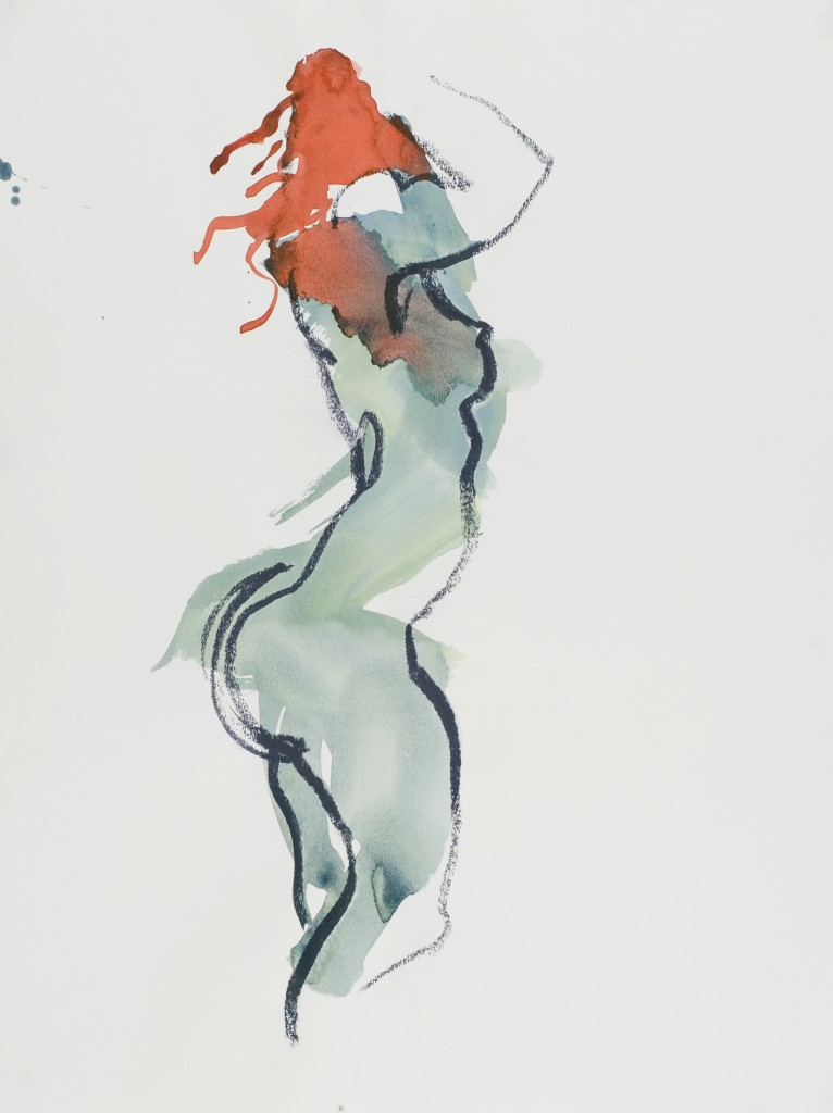 Painting of nude in Blue and Red_Figure Drawing