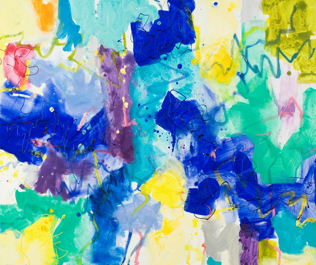 Abstract Expressionist painting_action painting in blue and yellow
