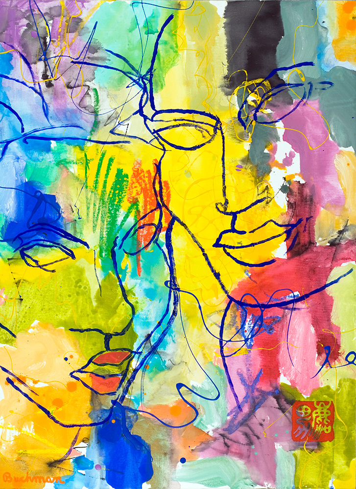Adam and Eve_Colorful abstract painting of faces