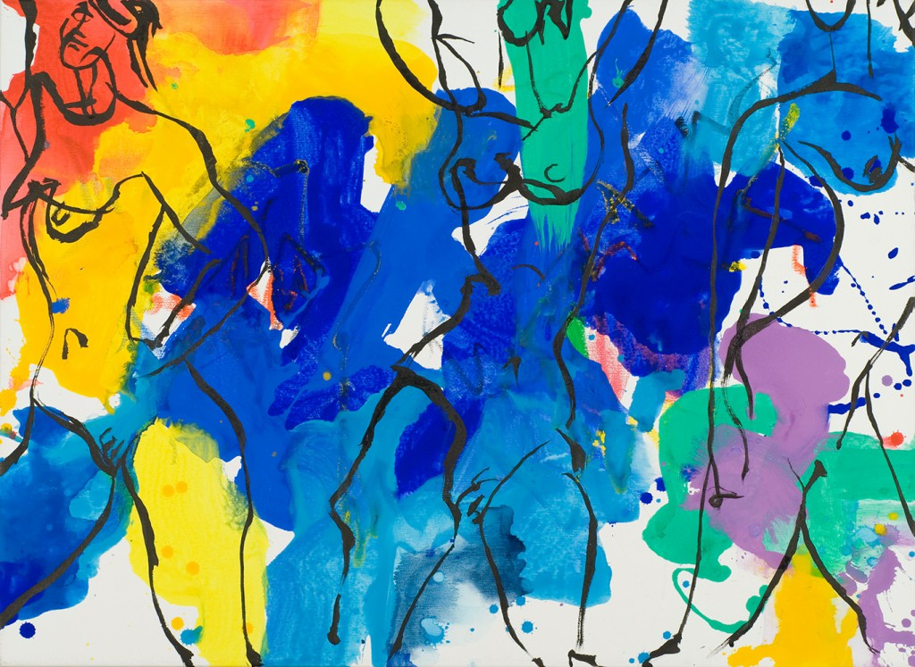 Picasso like nudes in brilliant colors_ink brushstrokes