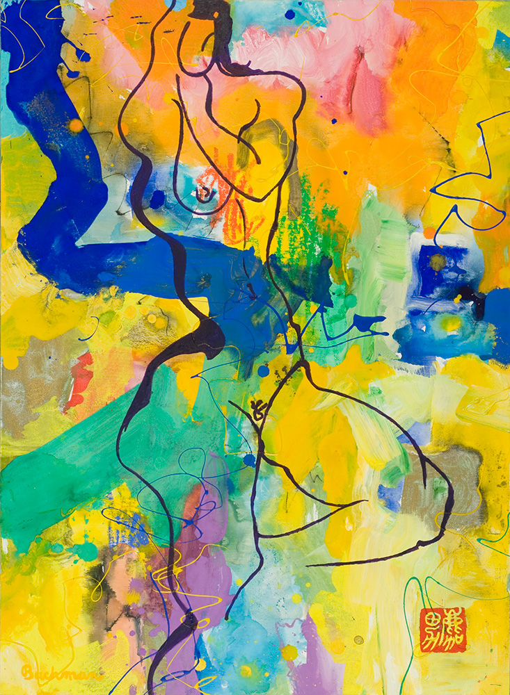 Painting of mysterious nude-Brightly colored abstract background