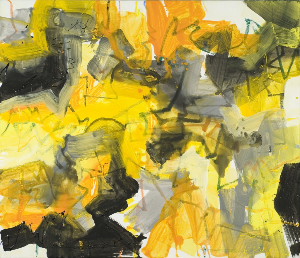 Abstract Expressionist painting_zen brushwork in yellow and black