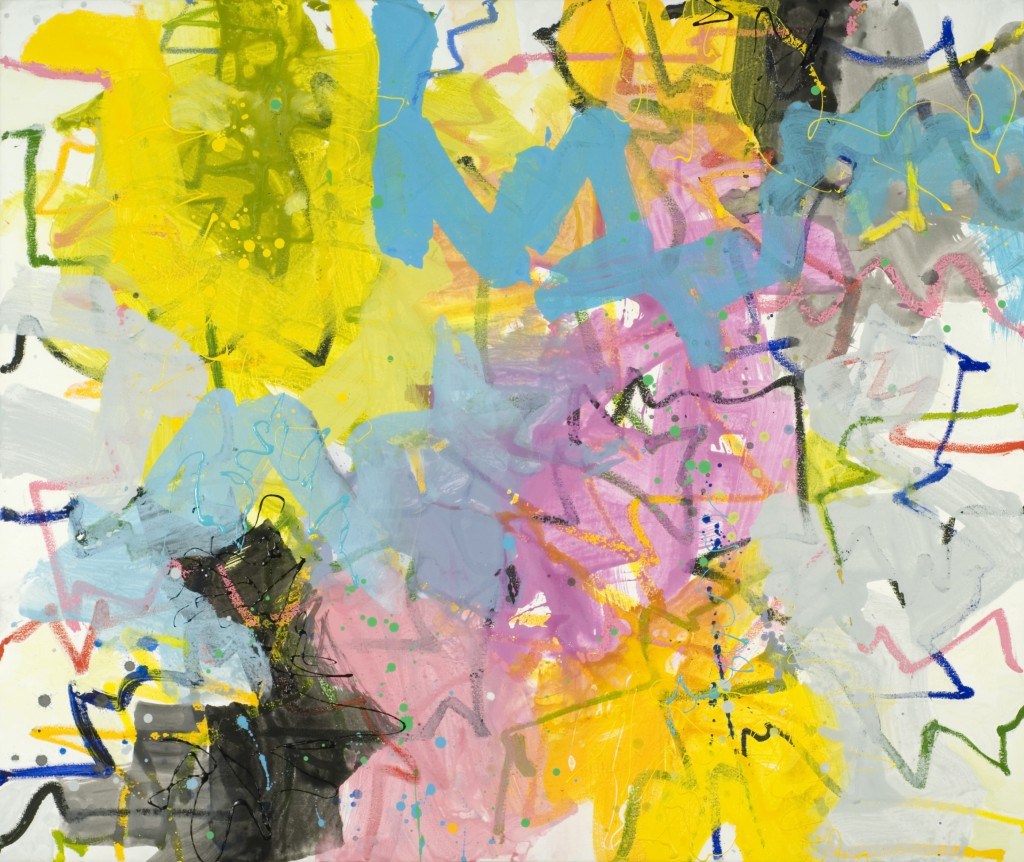 Abstract Expressionist painting_zen brushwork in yellow, pink and blue