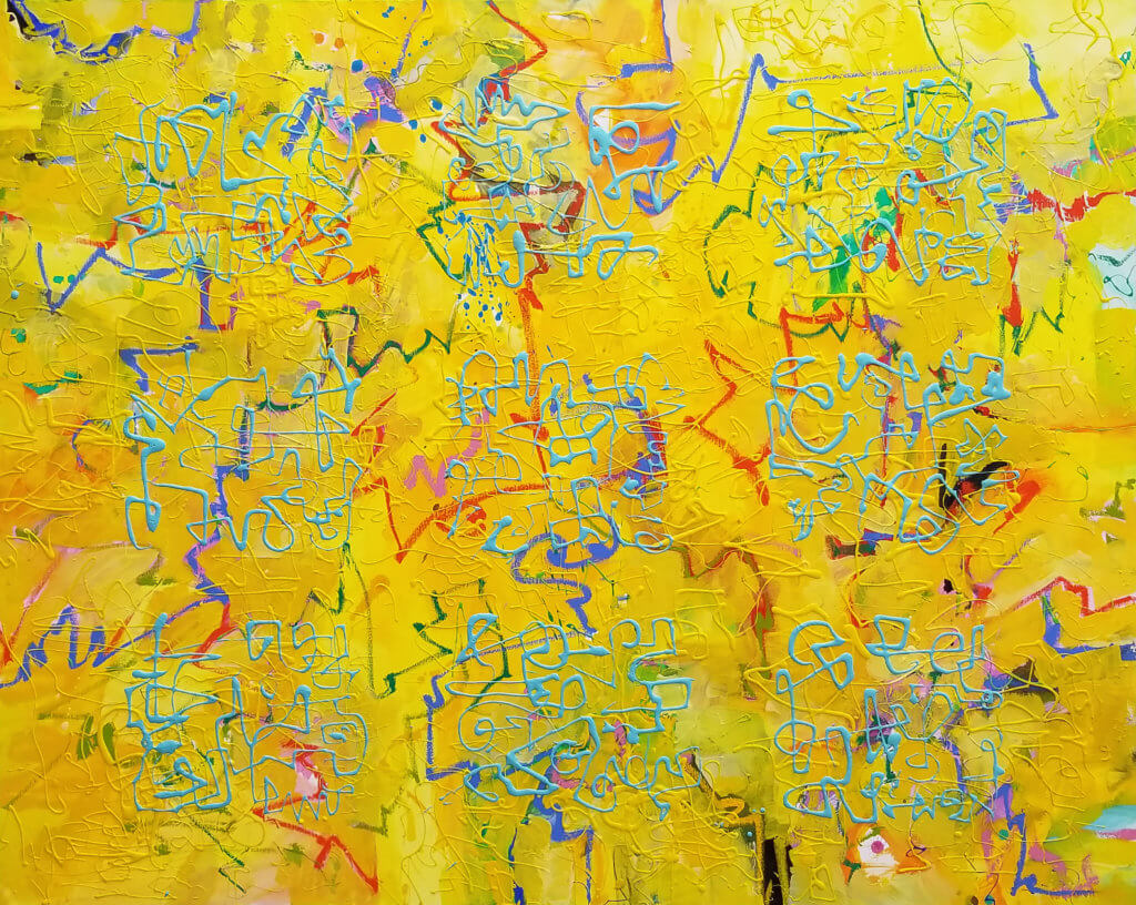 An abstract oil painting with layers of colored brush gestures and ascemic writing in turquoise and yellow.
