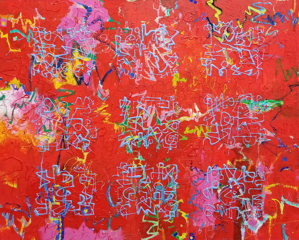 An abstract oil painting with layers of colored brush gestures and ascemic writing in red and light blue.
