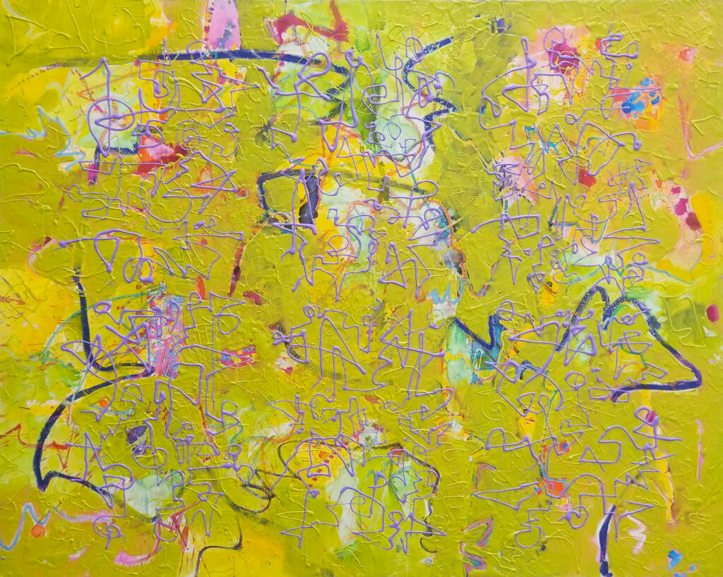 An abstract oil painting with layers of colored brush gestures and ascemic writing in light olive green and light violet.